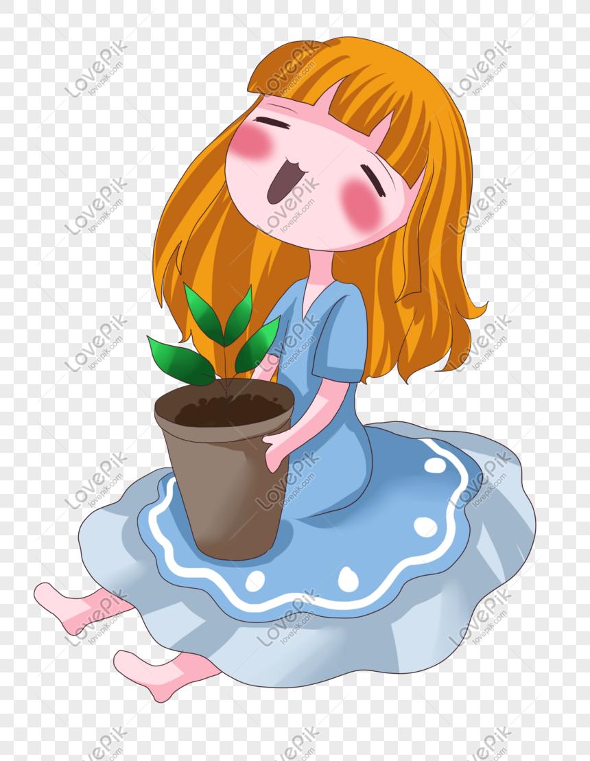 Arbour Day Karakter Kartun Hijau Pot Bunga Bergerak PNG
