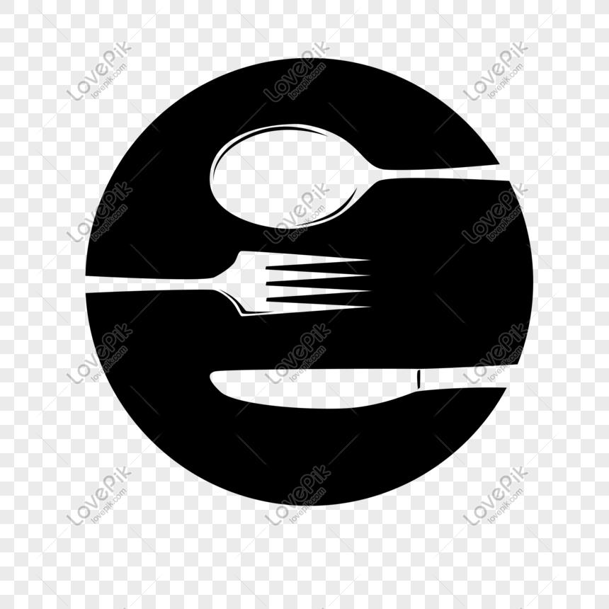 Vector Pinggan Mangkuk Kutleri Sudu Makanan Barat Logo Bulat