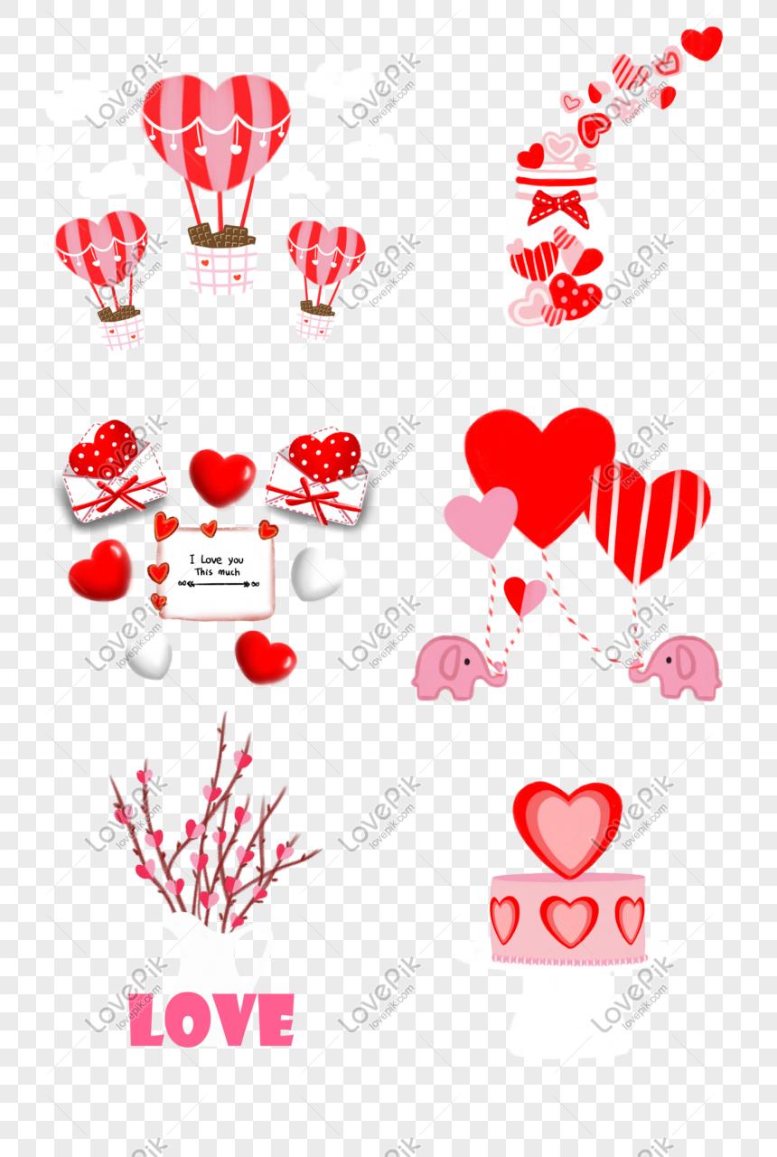Hari Valentine Angin Kartun Segar Tangan Mewarnai Vektor