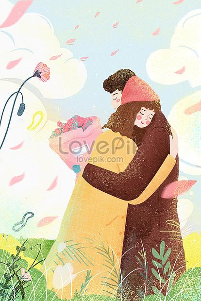 バレンタインデーのイラストロマンチックなカップルは花のイラストを抱きしめる png