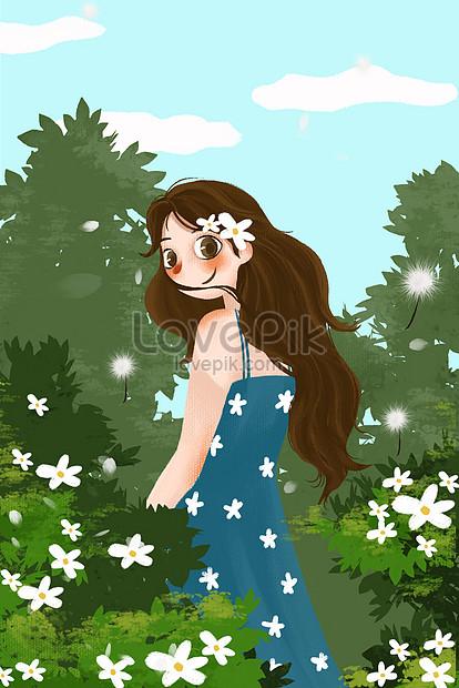 printemps fille illustration petite herbe de jardin fraîche pein png