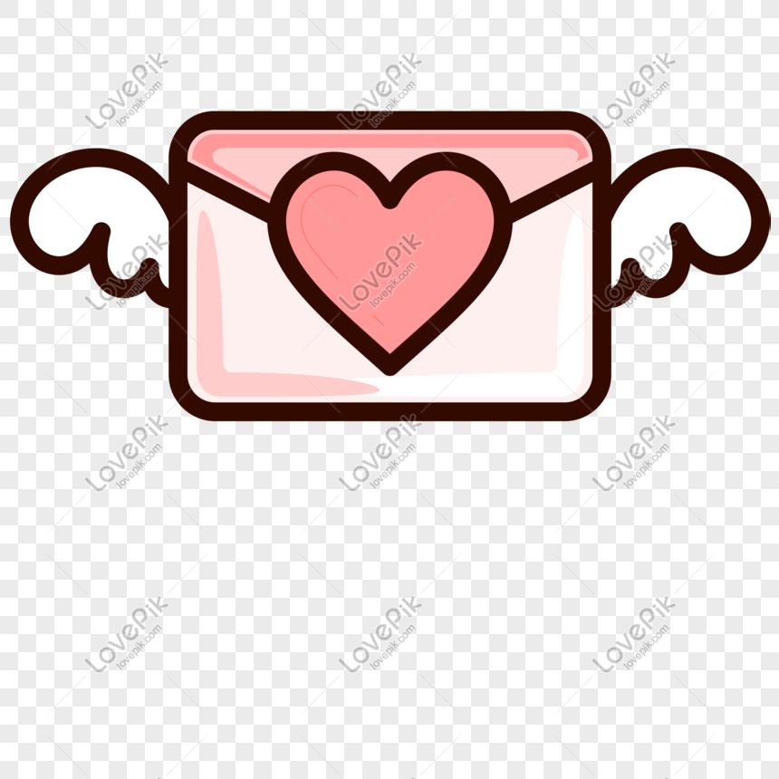Valentine Cinta Sampul Surat Hiasan Vektor Grafik Gambar
