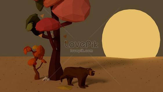 Cartone animato grande orso nel deserto immagine gratis foto numero