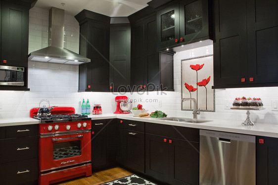 Cucina bianca e rossa nera Immagine Gratis_Foto numero ...