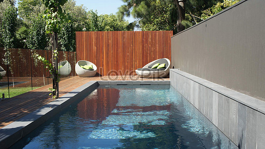 Timber deck line pool modern patio furniture wooden fence with bluestone  black pebble glass panel white wicker fence balcony garden furniture - Timber Deck Line Pool Modern Patio Furniture Wooden Fence With