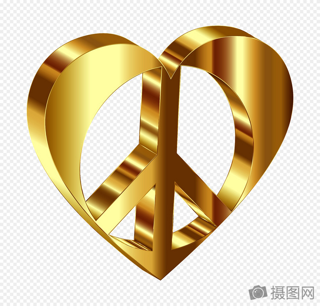 Heart Shaped Golden Peace Symbol Graphics Imagepicture Free
