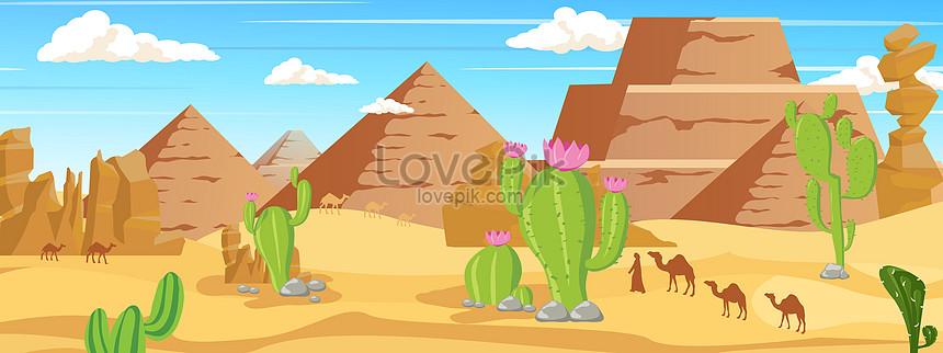 Cartoons Vector Desert Background Map Illustration Image Picture