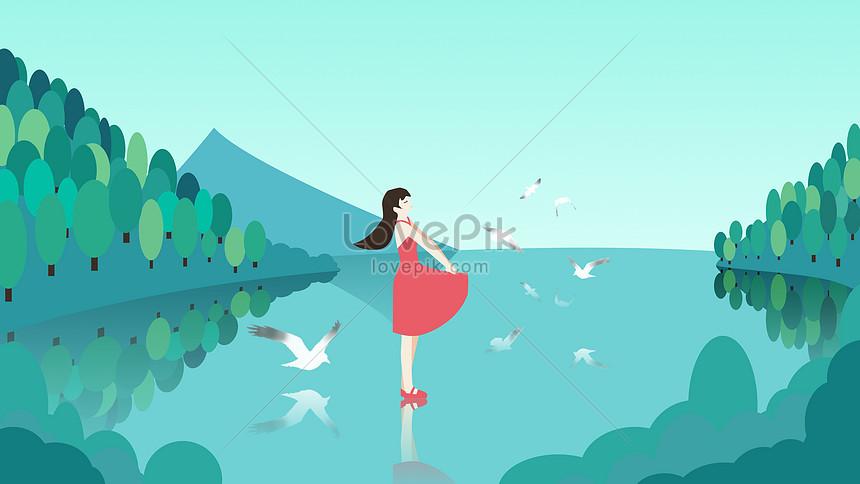 空のカモメイラストと赤いスカートの女の子イメージ図 Id 400057909prf