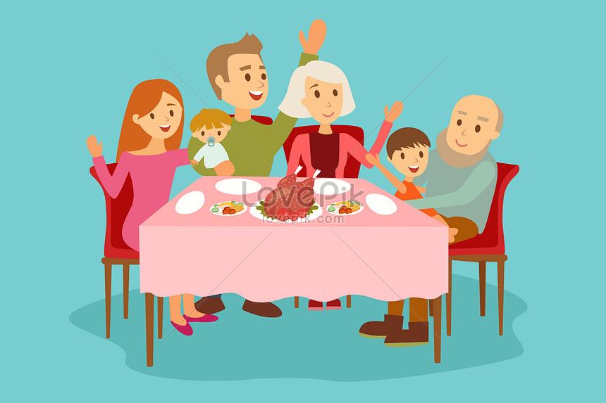 семья сидит за столом картинка