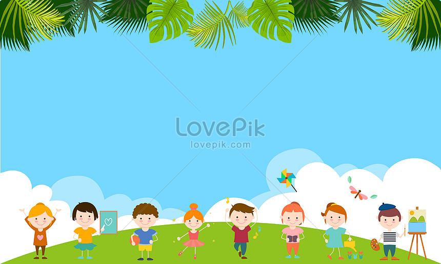 Cielo Blu Per Bambini E Materiale Di Sfondo Nuvole Bianche Immagine