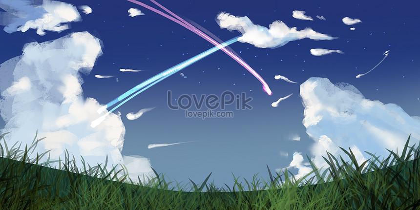 夕方の流星のイラストイメージ図 Id 400061498prf画像フォーマット