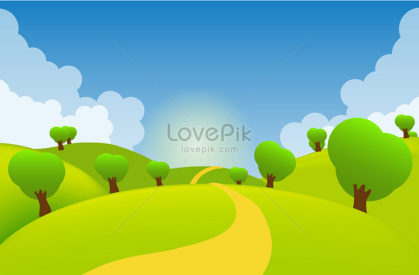 vector graphic hand painted field beautiful scenery
