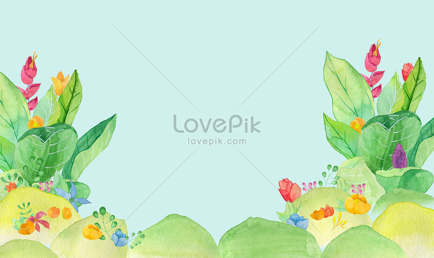Green watercolor flower leaves background backgrounds