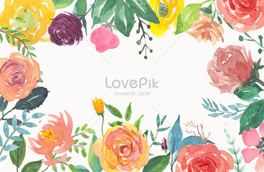 background of watercolor flowers and flowers
