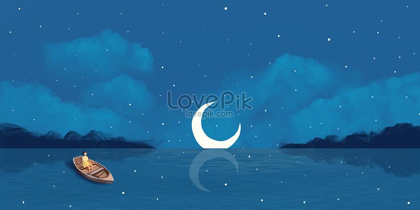 달이 하늘 삽화 치료 곳