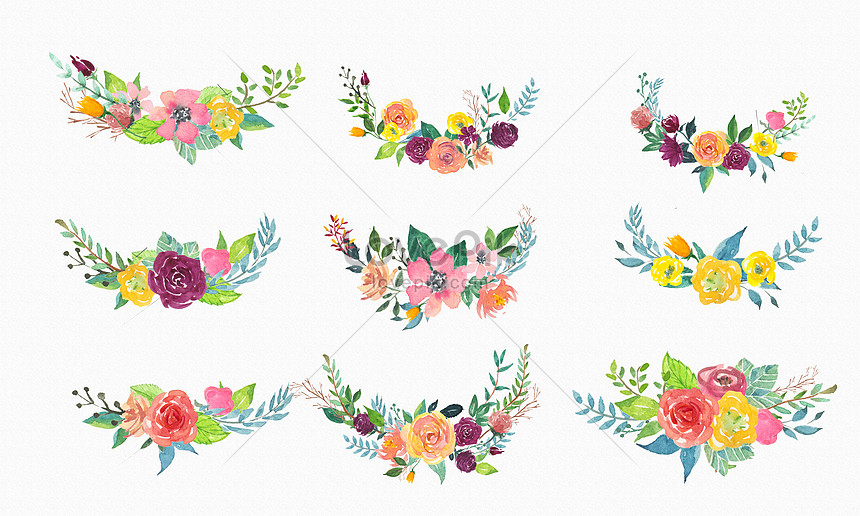 hand painted watercolor and flower decoration hand painted