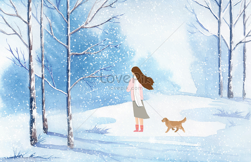 snow illustration in winter