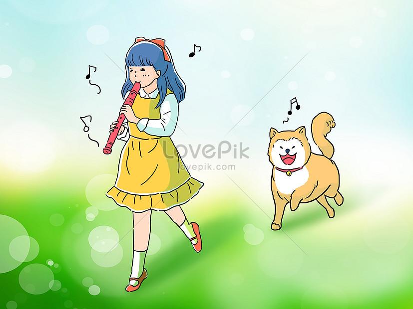 小さな女の子と柴犬犬手描きイラストイメージ図 Id 400070089prf画像