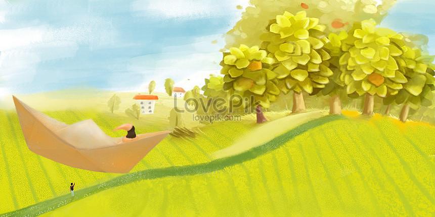 秋の田んぼイラスト背景イラストイメージ 図 Id 400073420 Prf画像