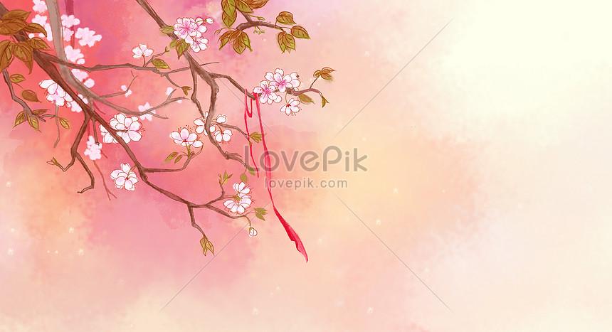 水彩の古代様式の美しい桃の花のイラストイメージ図 Id 400074290prf