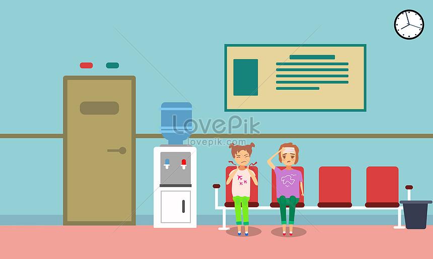 Anak Anak Menunggu Dokter Di Rumah Sakit Gambar Unduh Gratis Ilustrasi 400074665 Format Gambar Psd Lovepik Com