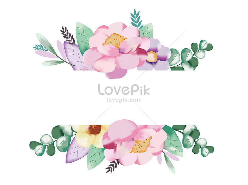 hand painted watercolor flower decorative frame
