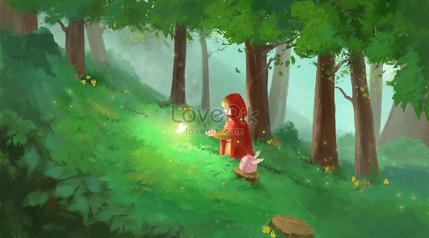 Caperucita Roja En El Bosque Psd Ilustraciones Imagenes Descarga Gratis Lovepik