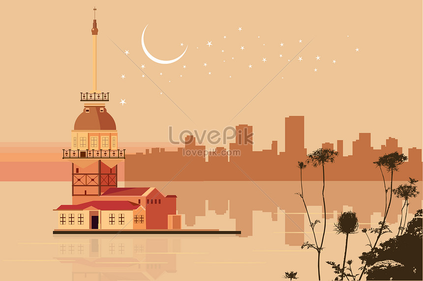 唯美城市矢量插畫