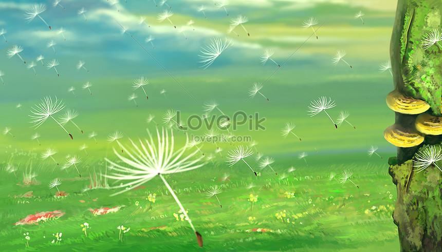 dandelion flying dandelion
