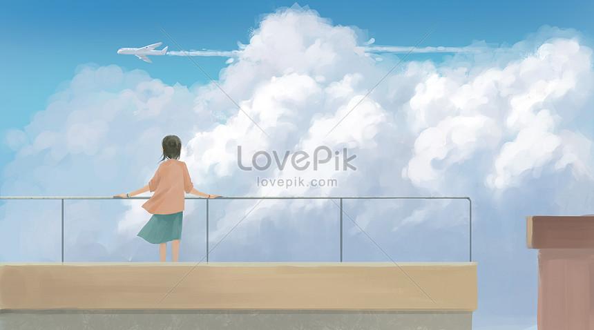 فتاة على السطح تبحث في الطائرة
