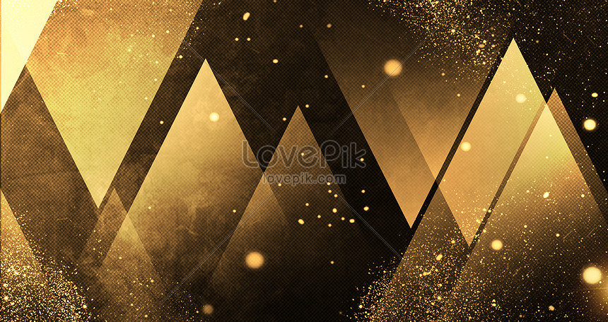 black gold background of geometry science and technology