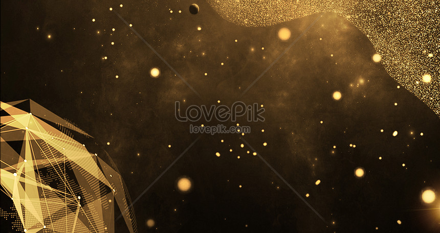 scientific and technological universe black gold background