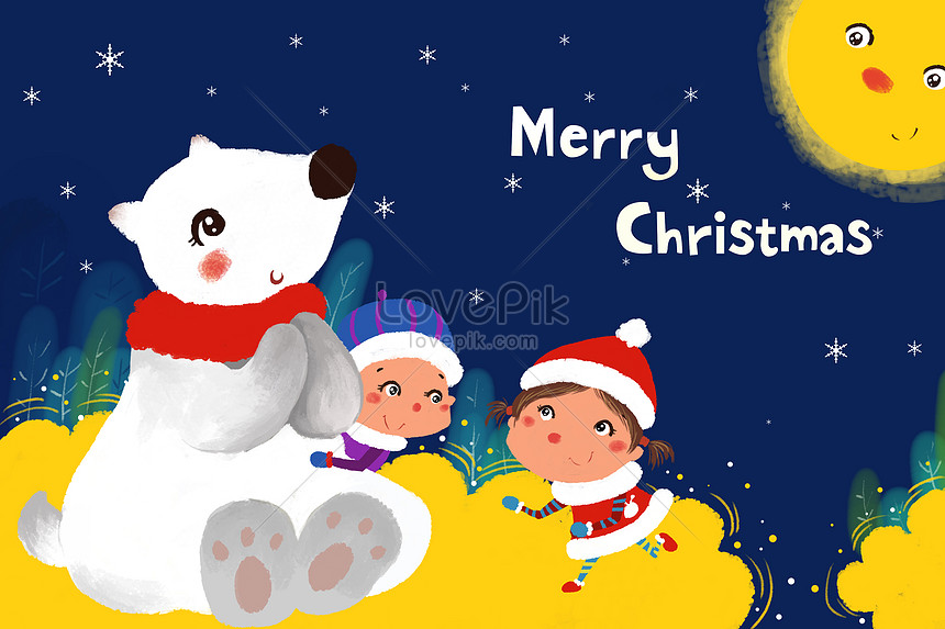 Merry Christmas Images Free Download.Merry Christmas Hand Painted Illustrations Illustration