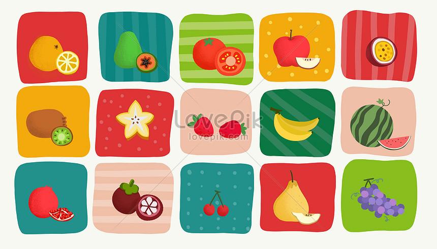 ilustração de frutas de várias temporadas