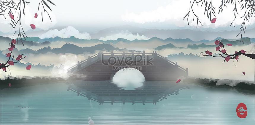 hangzhou west lake bridge in winter