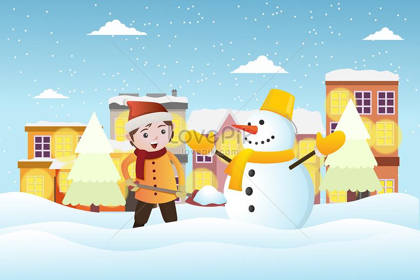 冬の雪が降り注ぐ風景イラストイメージ図 Id 400084968prf画像