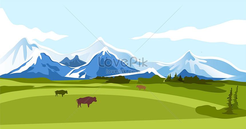 the grassland under the snow mountain