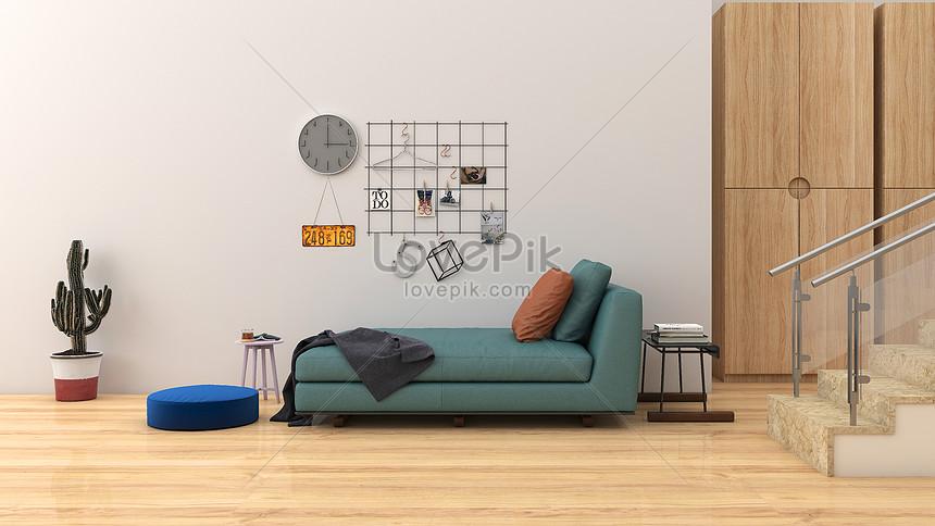 fundo de casa interior simples e fresca sala de estar