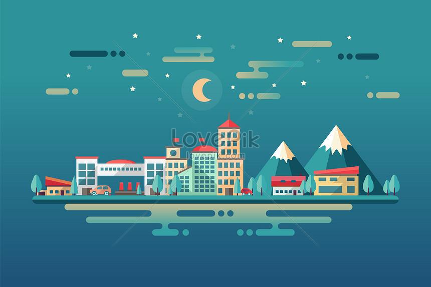 動畫矢量城市插畫