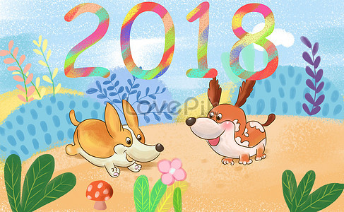 2018 puppies in the new spring photo