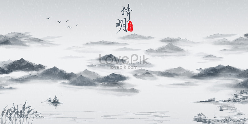 qingming chinese wind background of ink and wash
