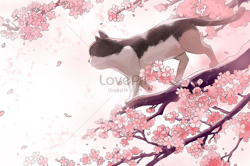 the cat on the cherry tree
