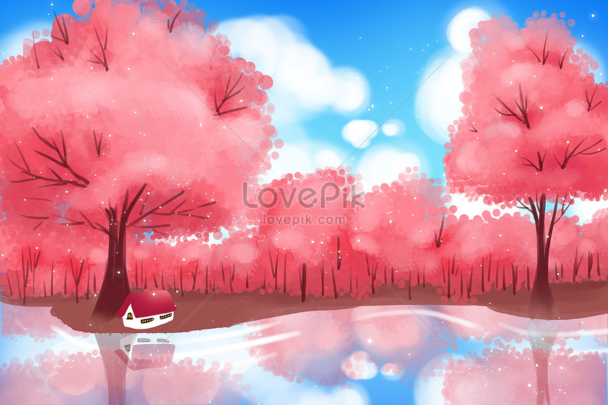spring red cherry tree wallpaper hand painted