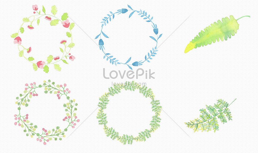 background material of watercolor and green leaf pattern