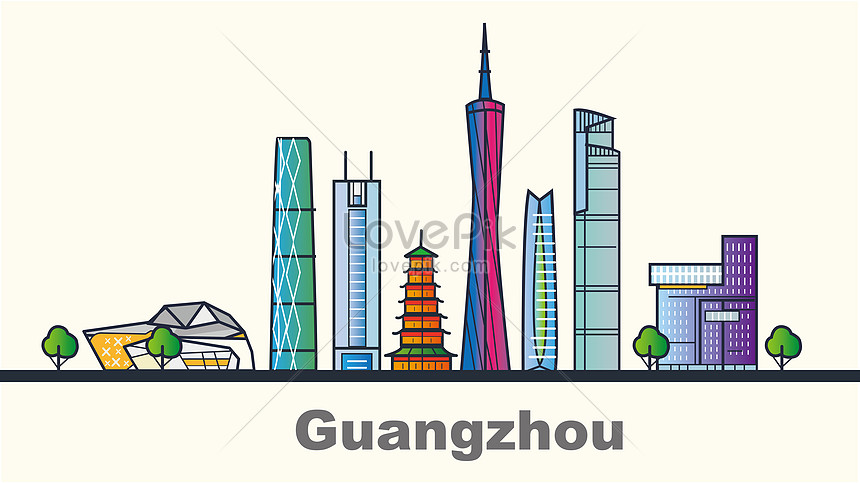 flattened city guangzhou landmark building