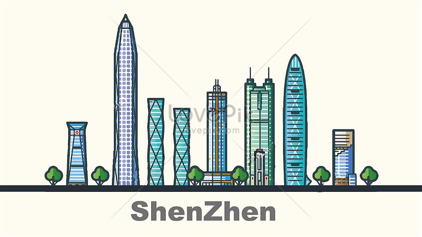 flattened city shenzhen landmark building