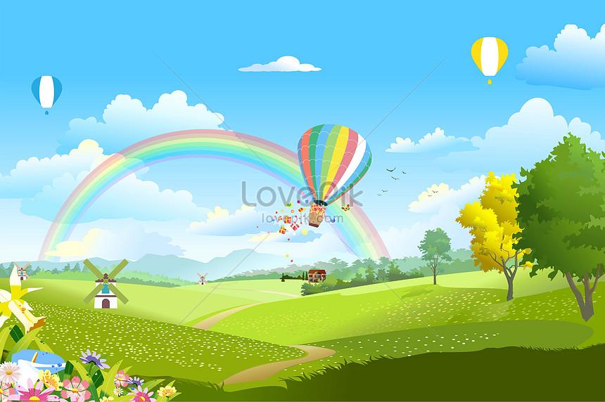 spring cartoon scenery