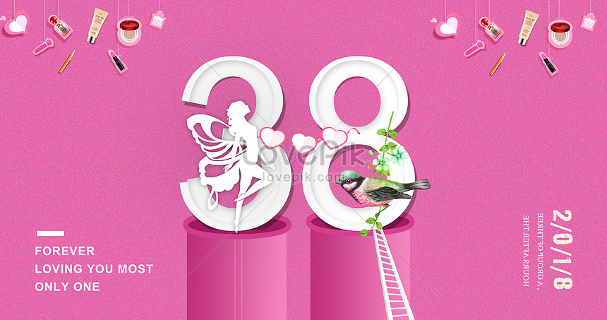 38 womens day pink cosmetics posters creative image_picture