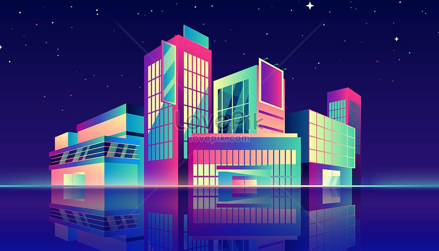 漸變城市建築