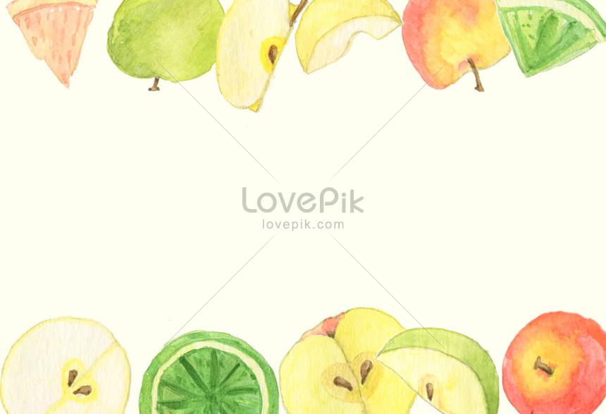 fundo de frutas em aquarela de pintados à mão